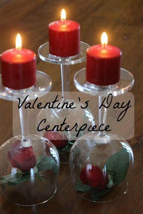 valentines day centerpiece roses wineglasses candles
