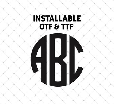 installable scalloped circle monogram true type font ttf otf format svg cut studio