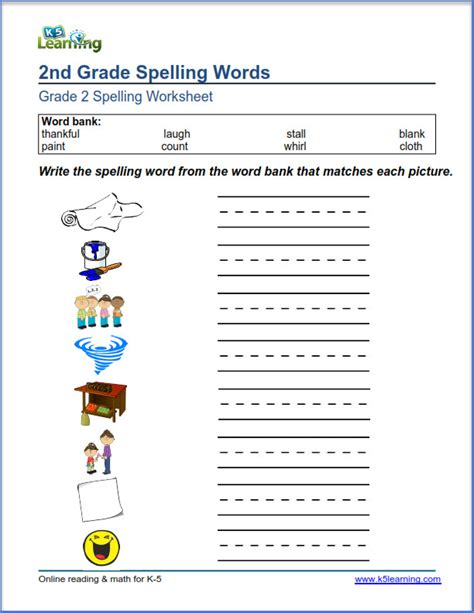 second grade spelling worksheets k5 learning