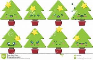 Cartoon Kawaii Christmas Tree Set Royalty Free Stock ...