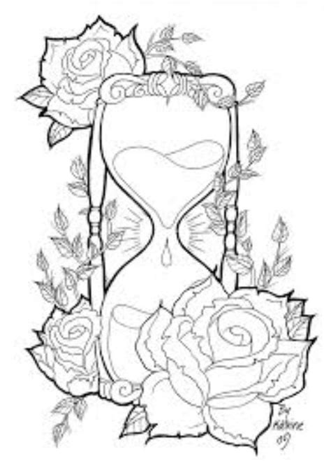 Pin by Brandy on Tattoo   Tattoo stencils, Adult coloring pages, Hourglass tattoo