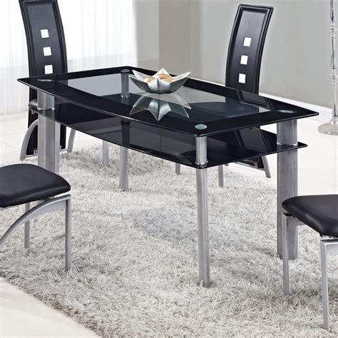 glass desk metal legs global furniture d1058dt rectangular black glass dining