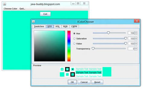 Javax Swing java buddy javax swing jcolorchooser