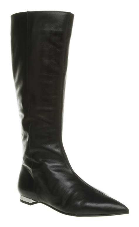 womens office jam flat pointy black leather boots shoes ebay