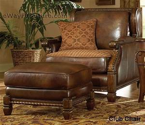 Avebury Manor Wood Trim Leather And Fabric Club Chair With