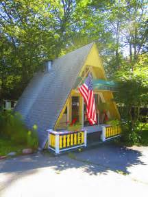 small a frame cabin relaxshacks a tiny yellow a frame cabin cottage in maine