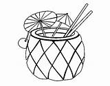 Pineapple Cocktail Coloring Pages Drinks Coloringcrew Food sketch template