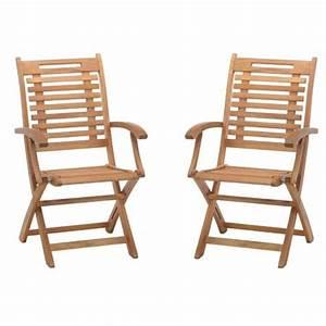 Chaise De Jardin En Bois : lot de 2 chaises avec accoudoirs en bois exotique lake sylva plantes et jardins ~ Teatrodelosmanantiales.com Idées de Décoration