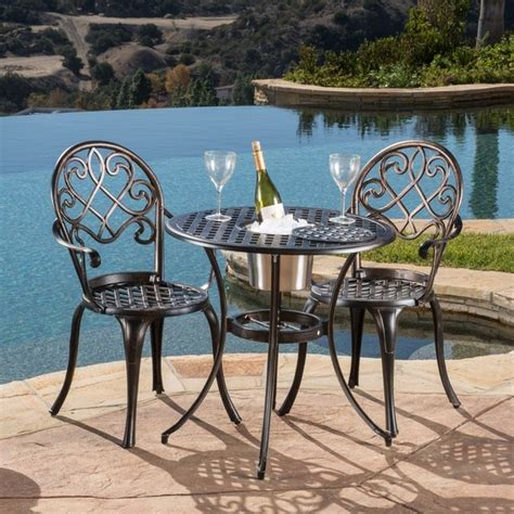 angeles cast aluminum outdoor bistro furniture set with