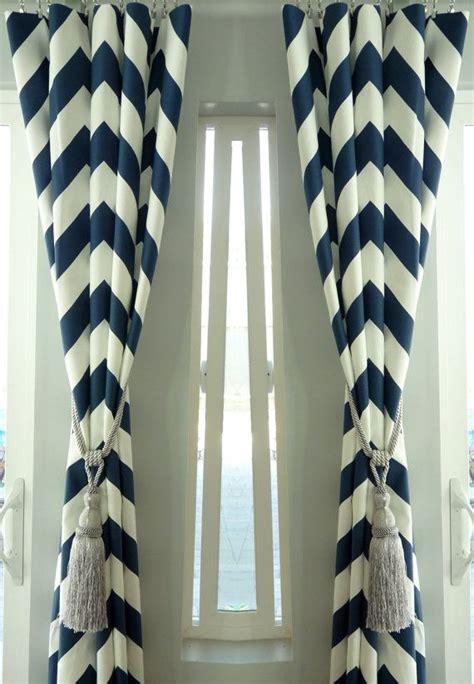 sale pair of two 25 quot cotton navy blue chevron