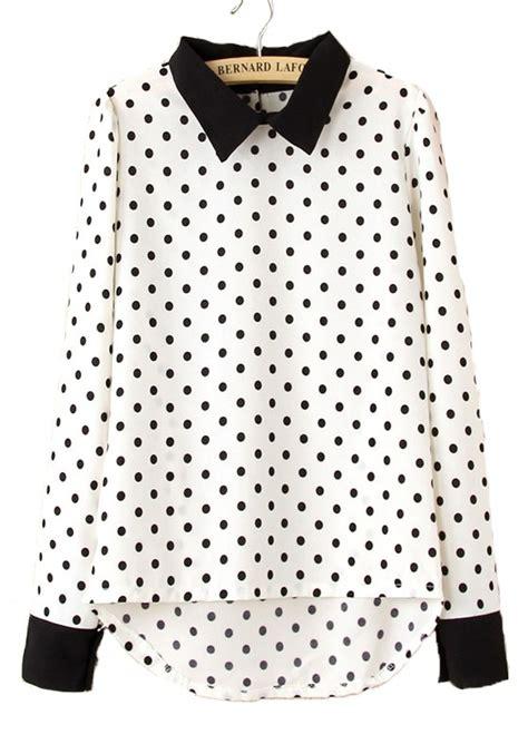 polka dot blouses white polka dot print sleeve chiffon blouse blouses