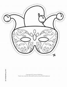 Printable mardi gras jester mask to color mask for Jester mask template
