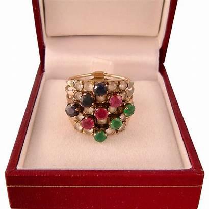 Harem Ring 14k Gold Colorful Gemstones