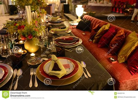 Table Decoration  Exotic Dark And Colorful, Dinner Party