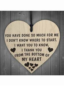 Thank You From The Bottom Of My Heart Wooden Plaque