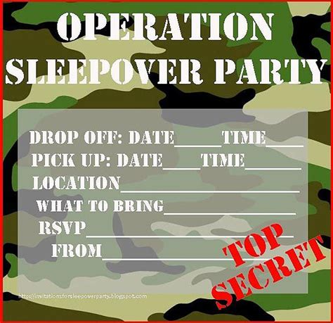 For boys too sleepover invites that you print and then