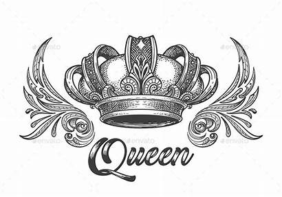 Crown Queen King Drawing Tattoo Tattoos Graphicriver