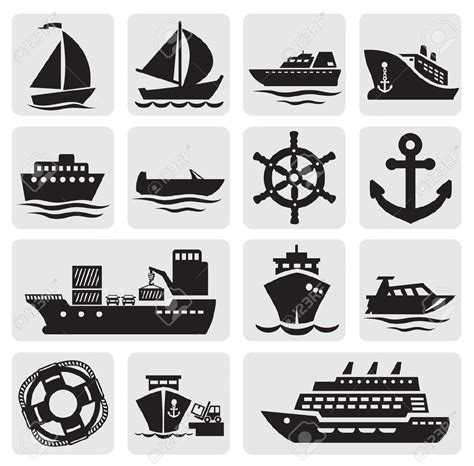 boat and ship icons set | Boat icon, Ship logo, Boat ...