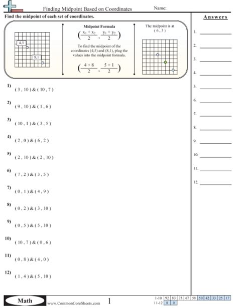 midpoint and distance formula worksheet worksheets for all