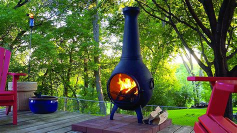 Wood Burning Chiminea Outdoor Fire Pit