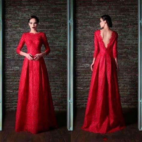 Ee  Modest Ee   Lace Long Sleeve Evening Dressesoor Length  Ee  Gowns Ee