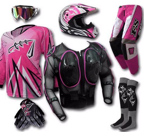 motocross gear for girls womens mx helmet goggles jersey pants gloves armour dirt