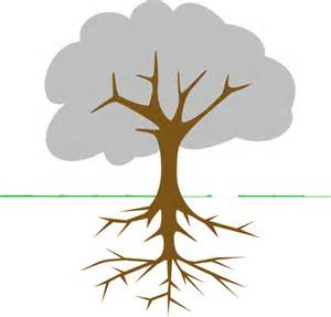Tree with Roots Outline Clip Art