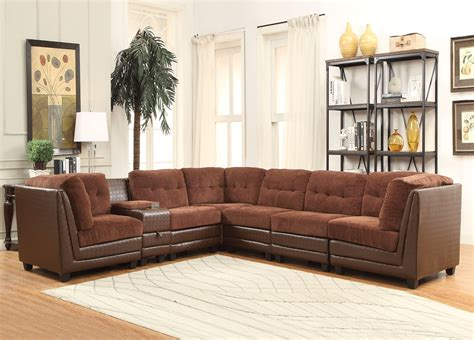 valen  pc casual modular sectional sofa  brown chenille