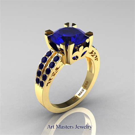 modern vintage  yellow gold  carat blue sapphire