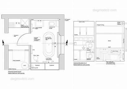 Elevation Plan Autocad Toilet Drawing Bathroom Cad