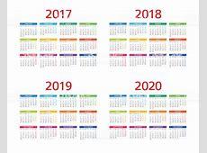 Calendar 2017 2018 2019 2020 Monday Sunday Stock Vector