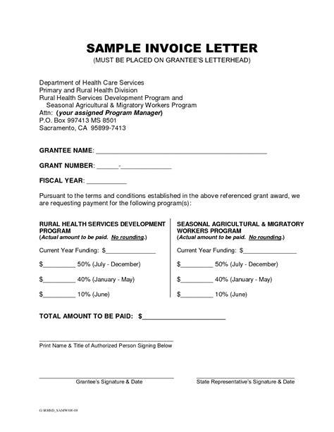 sample  invoice letter apcc