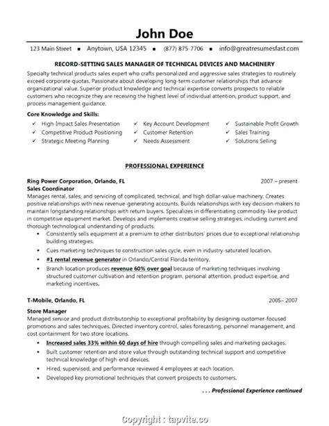 Sle Of A Curriculum Vitae by Modern Curriculum Vitae Sales Manager Resume Sales