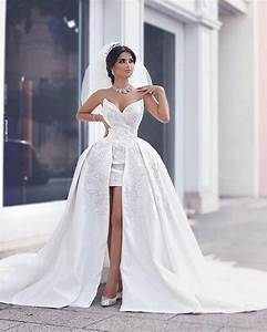 sexy short beach wedding dresses with detachable train With quick wedding dresses