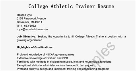 Athletic Resume For College by Resume Sles College Athletic Trainer Resume Sle
