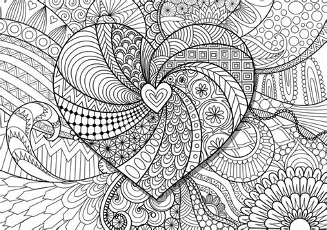 Heart On Flowers Zendoodle Design For Adult Coloring Book