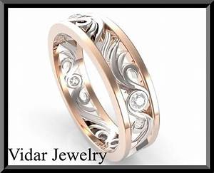 Two Tone Gold And Diamond Wedding Band - Custom Rings ...