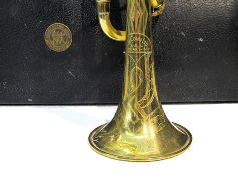 trumpet conn engraved brass trigger valve 1st flat 1942 deco gold reverb ohsc