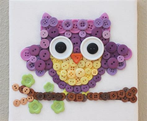 15 button crafts for inhabitots 615 | Button Owl Art