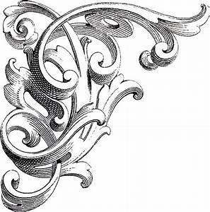 Vintage Corner Scrolls Design - The Graphics Fairy