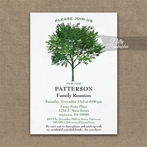 green tree family reunion invitation printed nifty With family tree wedding invitations
