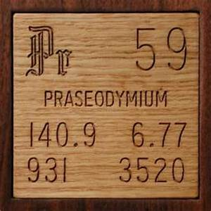 Sample of the element Praseodymium in the Periodic Table
