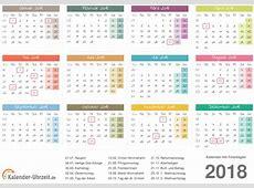 Kalender 2018 mit Feiertagen