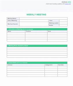weekly meeting agenda template download plus sample schedule With weekly meeting minutes template