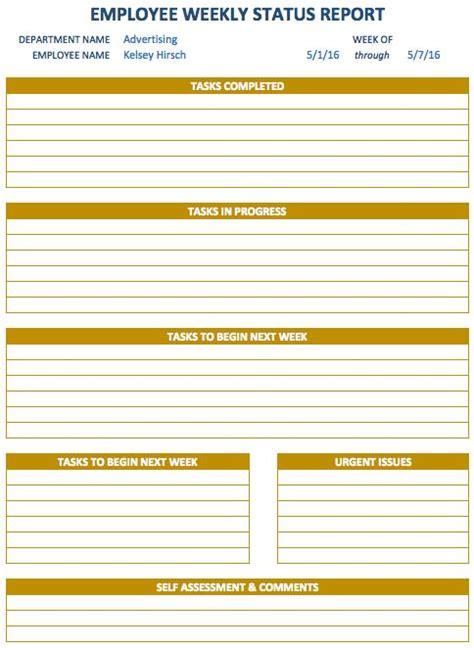 weekly report template progress report template