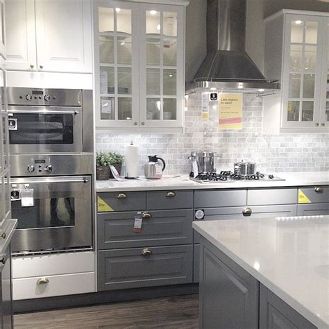 grey kitchen cabinets ikea loving this ikea showroom kitchen ikea ikeacanada 4070