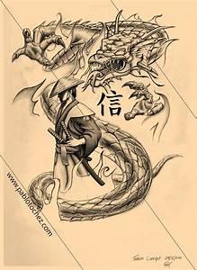 35+ Samurai Dragon Tattoo Design
