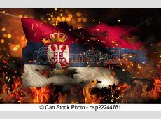 Serbia burning fire flag war conflict night 3d stock