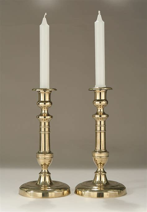 Candle Sticks by Pair Of Brass Candlesticks C1800 1825 M