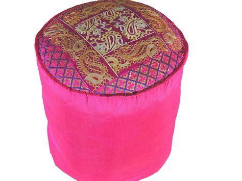Magenta Round Traditional Indian Pouf Cover